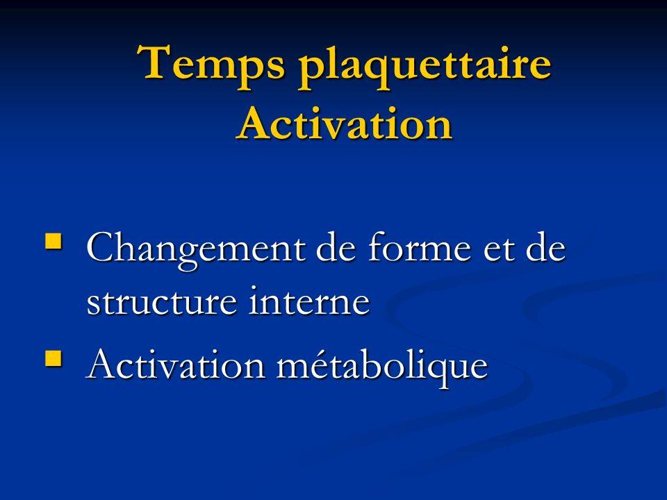 Temps plaquettaire Activation Changement de forme et de structure interne Changement de forme et de structure interne Activation métabolique Activatio