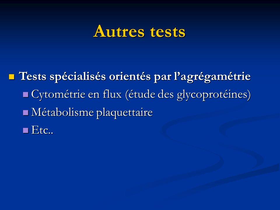 Autres tests Tests spécialisés orientés par lagrégamétrie Tests spécialisés orientés par lagrégamétrie Cytométrie en flux (étude des glycoprotéines) C