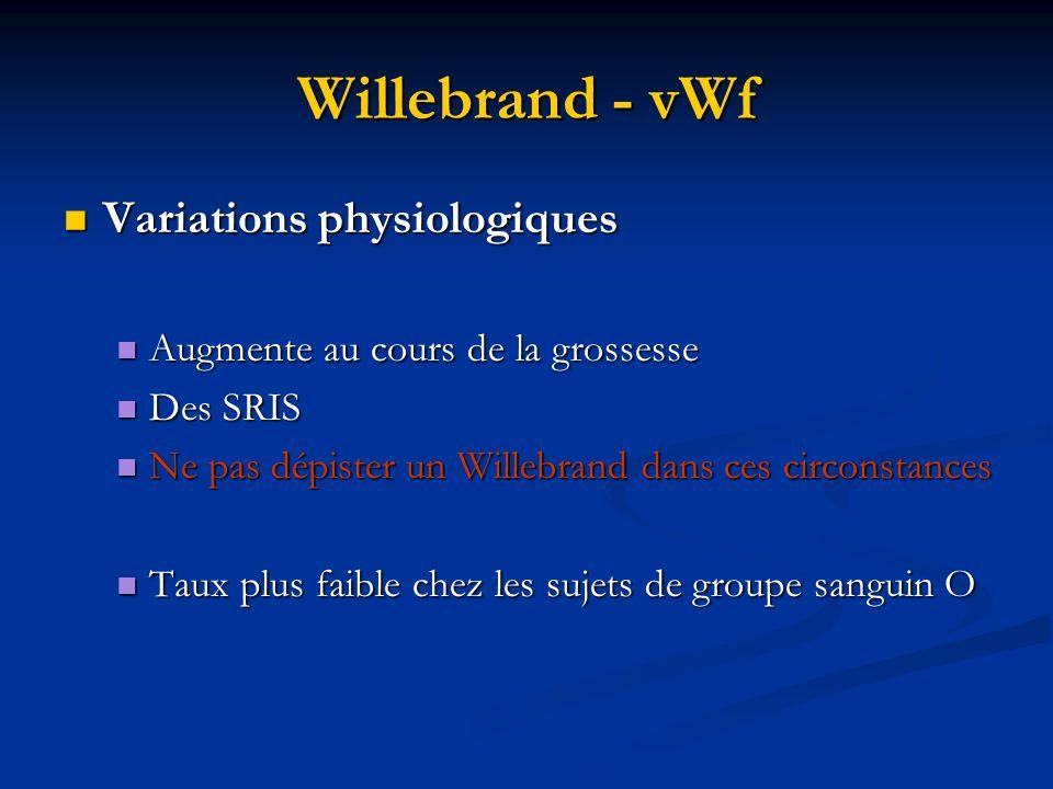 Willebrand - vWf Variations physiologiques Variations physiologiques Augmente au cours de la grossesse Augmente au cours de la grossesse Des SRIS Des