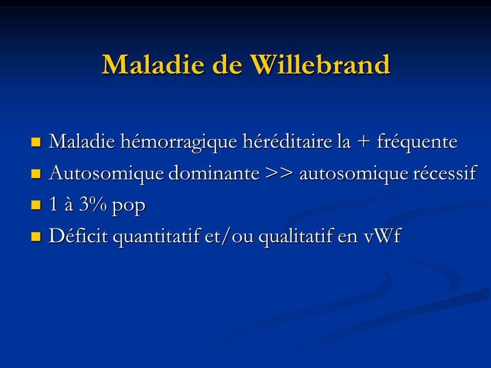 Maladie de Willebrand Maladie hémorragique héréditaire la + fréquente Maladie hémorragique héréditaire la + fréquente Autosomique dominante >> autosom