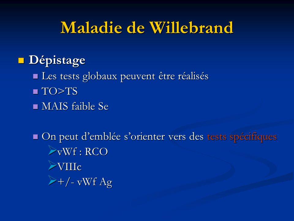 Maladie de Willebrand Dépistage Dépistage Les tests globaux peuvent être réalisés Les tests globaux peuvent être réalisés TO>TS TO>TS MAIS faible Se M