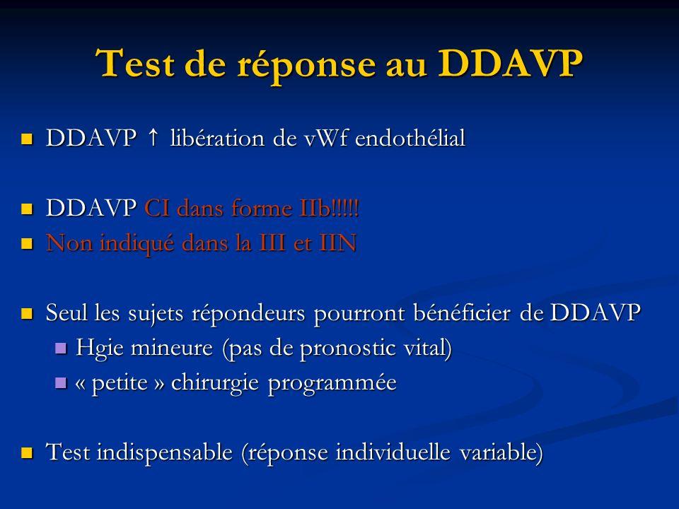 Test de réponse au DDAVP DDAVP libération de vWf endothélial DDAVP libération de vWf endothélial DDAVP CI dans forme IIb!!!!! DDAVP CI dans forme IIb!
