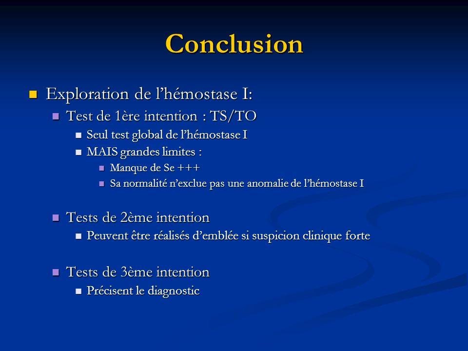 Conclusion Exploration de lhémostase I: Exploration de lhémostase I: Test de 1ère intention : TS/TO Test de 1ère intention : TS/TO Seul test global de
