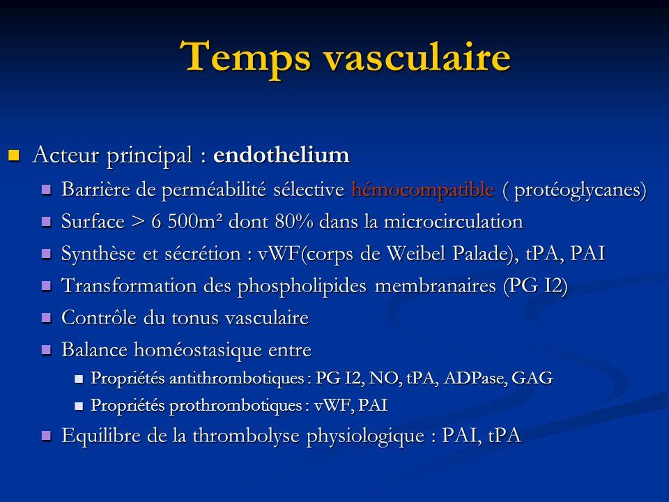 Temps vasculaire Acteur principal : endothelium Acteur principal : endothelium Barrière de perméabilité sélective hémocompatible ( protéoglycanes) Bar