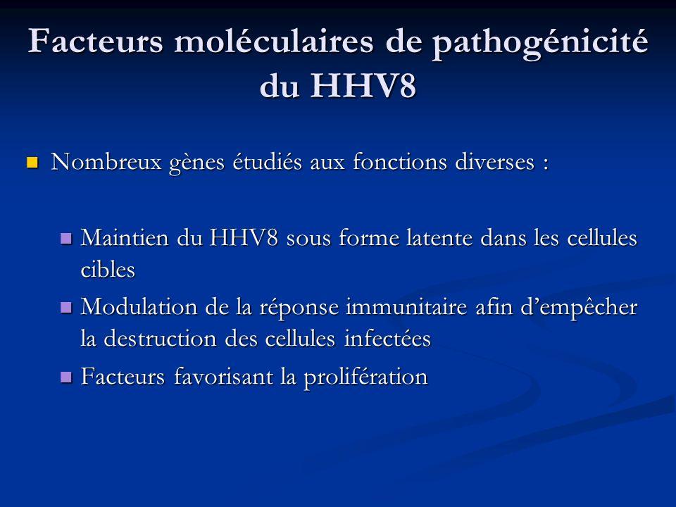 Facteurs moléculaires de pathogénicité du HHV8 Nombreux gènes étudiés aux fonctions diverses : Nombreux gènes étudiés aux fonctions diverses : Maintie