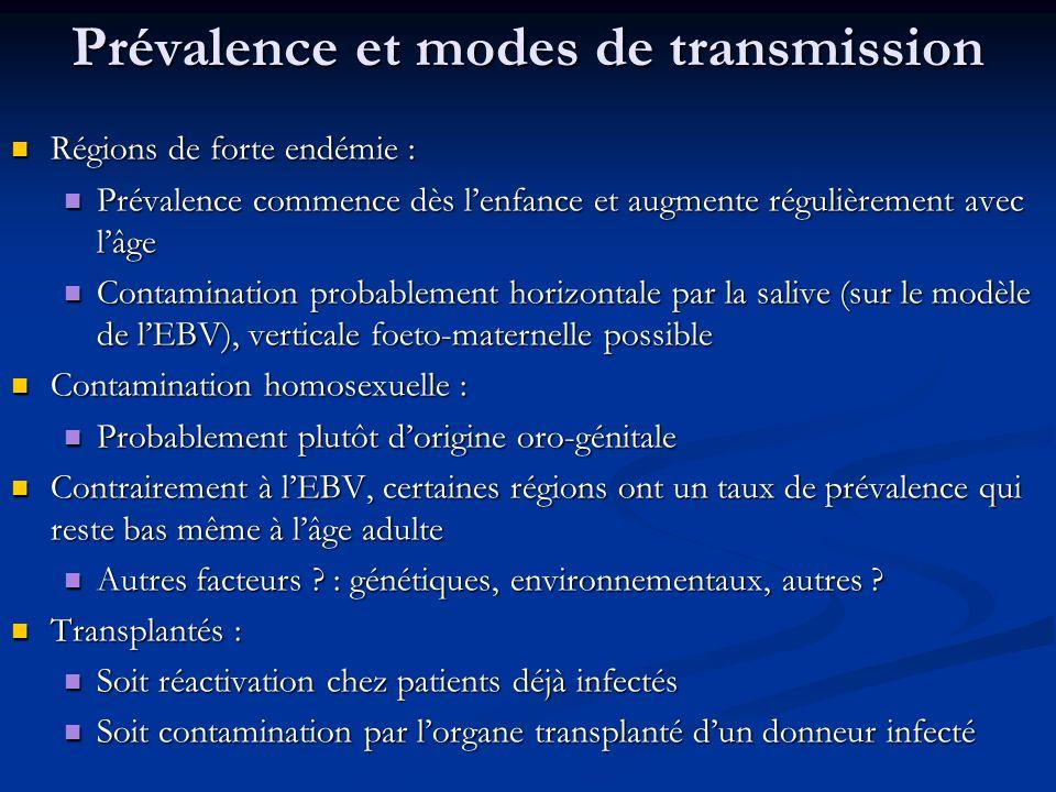 Prévalence et modes de transmission Régions de forte endémie : Régions de forte endémie : Prévalence commence dès lenfance et augmente régulièrement a