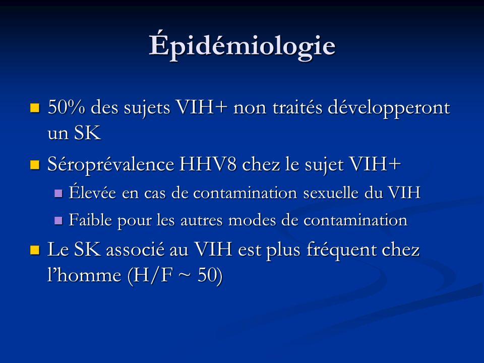 Épidémiologie 50% des sujets VIH+ non traités développeront un SK 50% des sujets VIH+ non traités développeront un SK Séroprévalence HHV8 chez le suje