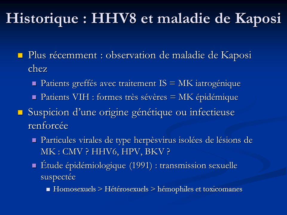 HHV8 et lymphome primitif des séreuses Homme jeune VIH+ Homme jeune VIH+ Fréquemment associé au SK Fréquemment associé au SK Prolifération monoclonale de lymphocyte B dans 1 ou plusieurs cavités séreuses (péritoine, péricarde, plèvre …) Prolifération monoclonale de lymphocyte B dans 1 ou plusieurs cavités séreuses (péritoine, péricarde, plèvre …) Cellules de grande taille, hyperbasophiles et nucléolées (~ immunoblastes) Cellules de grande taille, hyperbasophiles et nucléolées (~ immunoblastes) Génome de lHHV8 est toujours présent (fréquemment associé à lEBV : >85%) Génome de lHHV8 est toujours présent (fréquemment associé à lEBV : >85%) Mauvais pronostic : moyen de survie : quelques mois Mauvais pronostic : moyen de survie : quelques mois Traitement : CHOP + trithérapie, IFNα … Traitement : CHOP + trithérapie, IFNα …