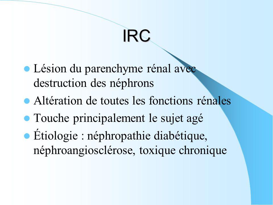 IRC Lésion du parenchyme rénal avec destruction des néphrons Altération de toutes les fonctions rénales Touche principalement le sujet agé Étiologie :