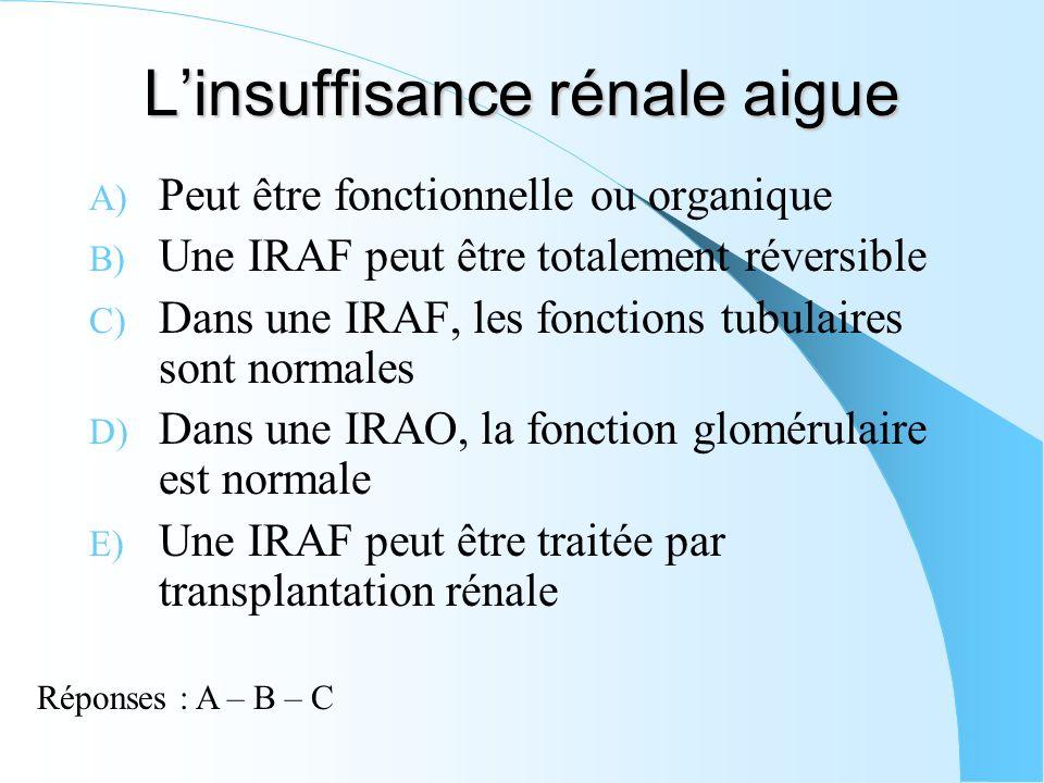 Linsuffisance rénale aigue A) Peut être fonctionnelle ou organique B) Une IRAF peut être totalement réversible C) Dans une IRAF, les fonctions tubulai