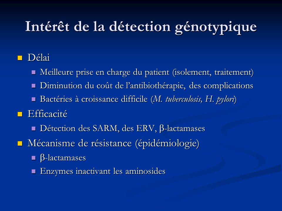 Intérêt de la détection génotypique Délai Délai Meilleure prise en charge du patient (isolement, traitement) Meilleure prise en charge du patient (iso