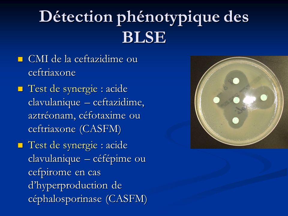 Détection phénotypique des BLSE CMI de la ceftazidime ou ceftriaxone CMI de la ceftazidime ou ceftriaxone Test de synergie : acide clavulanique – ceft