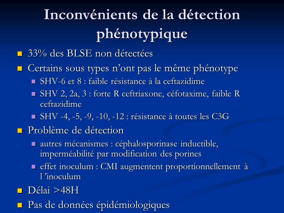 Inconvénients de la détection phénotypique 33% des BLSE non détectées 33% des BLSE non détectées Certains sous types nont pas le même phénotype Certai