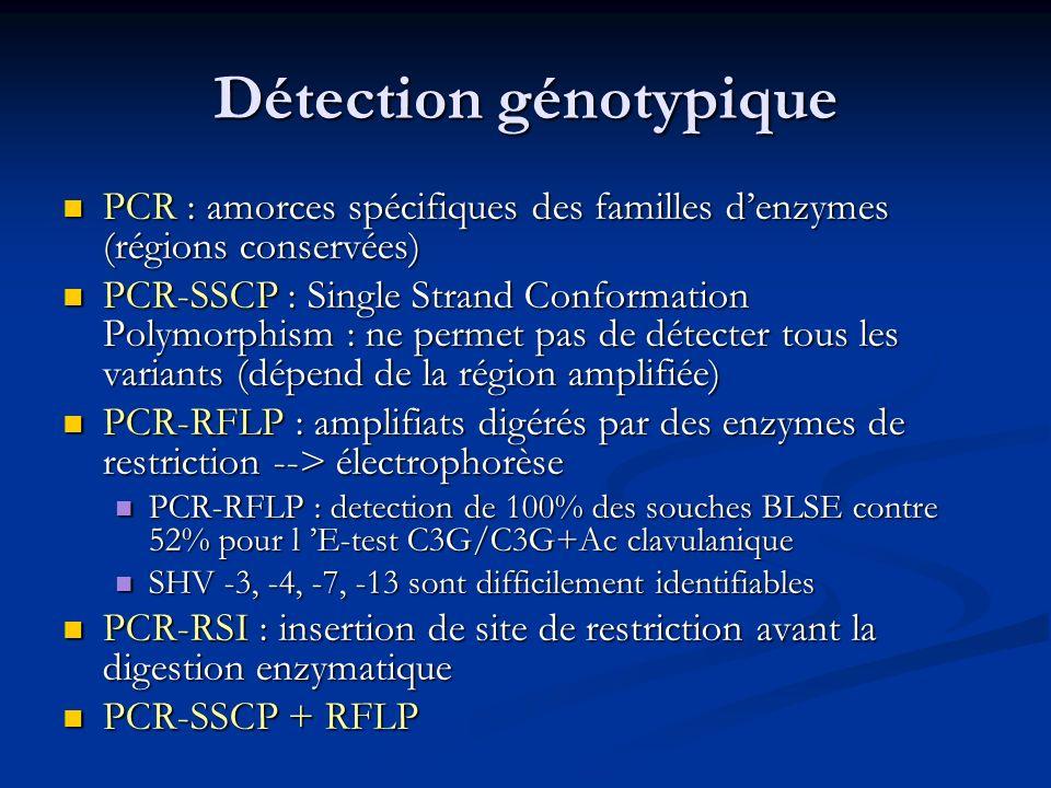 Détection génotypique PCR : amorces spécifiques des familles denzymes (régions conservées) PCR : amorces spécifiques des familles denzymes (régions co