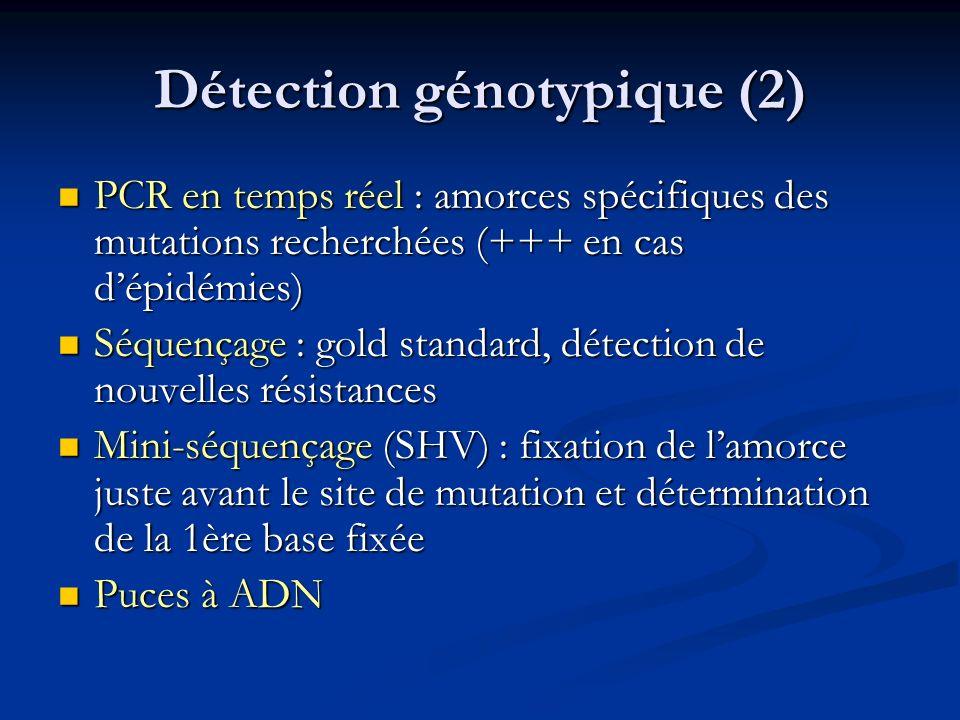 Détection génotypique (2) PCR en temps réel : amorces spécifiques des mutations recherchées (+++ en cas dépidémies) PCR en temps réel : amorces spécif