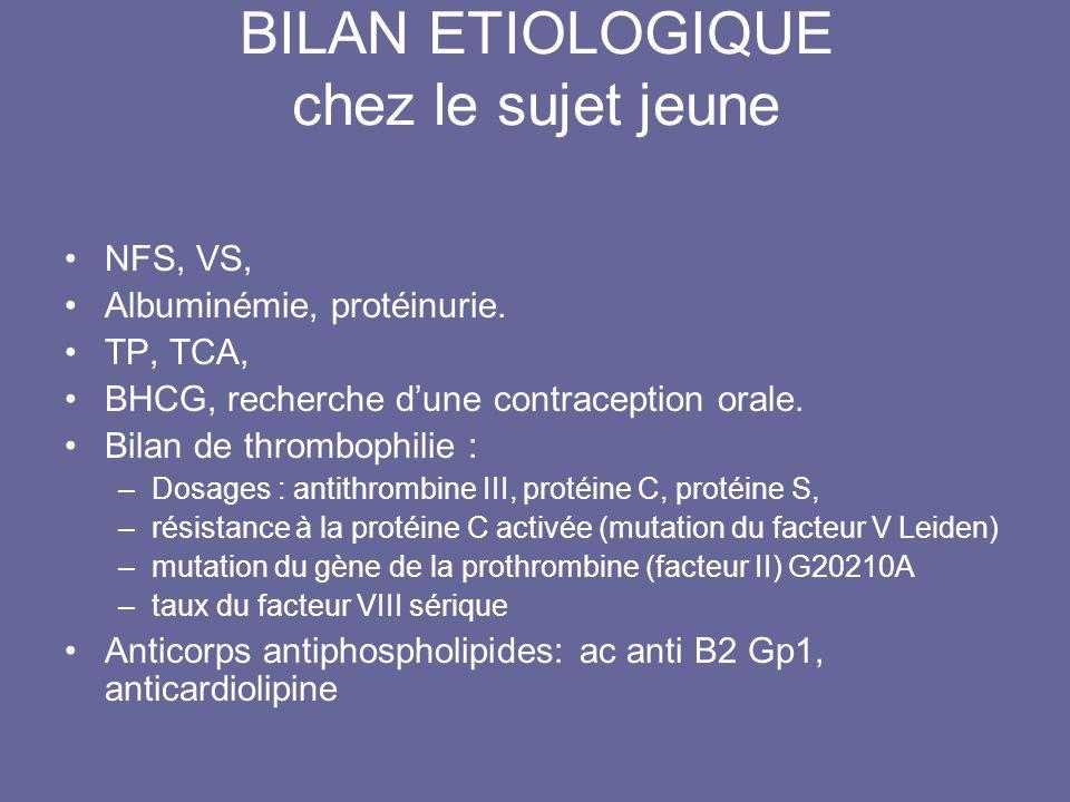 BILAN ETIOLOGIQUE chez le sujet jeune NFS, VS, Albuminémie, protéinurie. TP, TCA, BHCG, recherche dune contraception orale. Bilan de thrombophilie : –