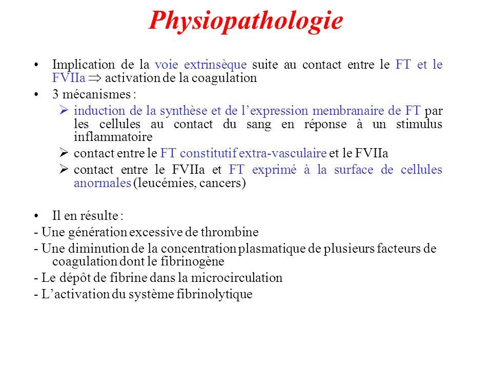 Physiopathologie Implication de la voie extrinsèque suite au contact entre le FT et le FVIIa activation de la coagulation 3 mécanismes : induction de