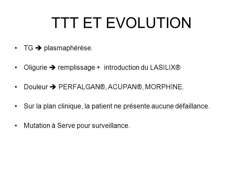 TTT ET EVOLUTION TG plasmaphérèse. Oligurie remplissage + introduction du LASILIX® Douleur PERFALGAN®, ACUPAN®, MORPHINE. Sur la plan clinique, la pat