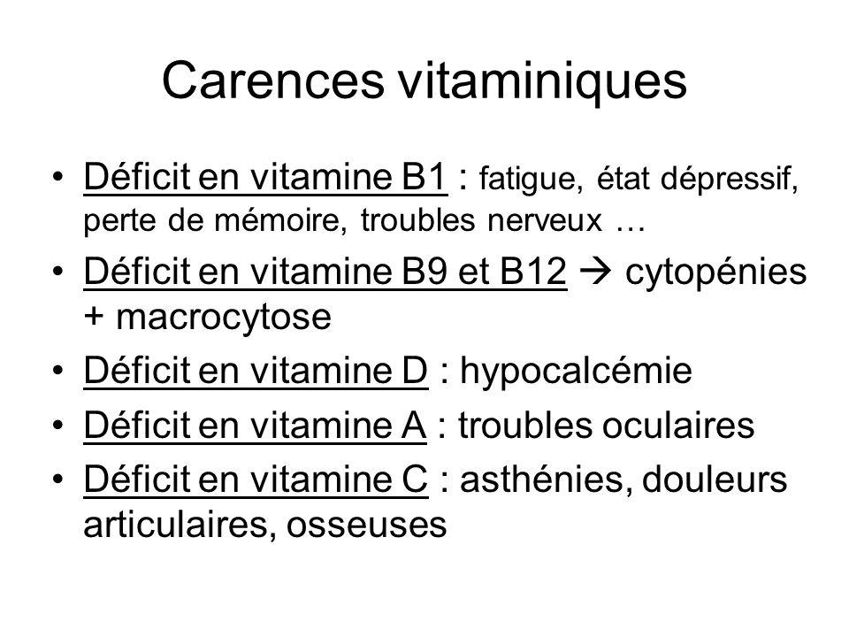 Carences vitaminiques Déficit en vitamine B1 : fatigue, état dépressif, perte de mémoire, troubles nerveux … Déficit en vitamine B9 et B12 cytopénies