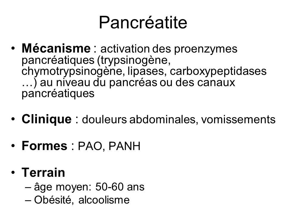 Pancréatite (2) Etiologies –lithiase: 36 % –Alcool: 32% –idiopathique: 14 % –diverse: 18 % : Hypertriglycéridémies, hyperparathyroïdie, iatrogène, inféctieux… Diagnostic : biologie (amylase, lipase), imagerie +++ Tt : symptomatique : antalgique, jeûne, réanimation