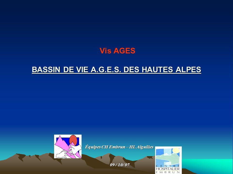 BASSIN DE VIE A.G.E.S. DES HAUTES ALPES Vis AGES BASSIN DE VIE A.G.E.S. DES HAUTES ALPES Équipes CH Embrun – HL Aiguilles 09 / 10/ 07 09 / 10/ 07