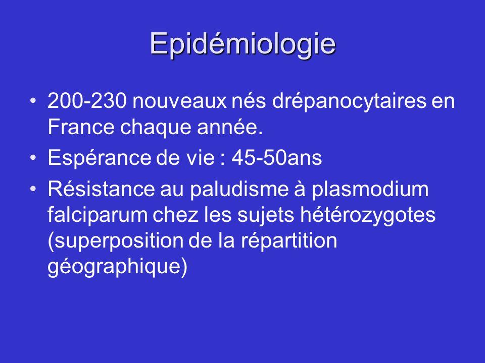 Epidémiologie 200-230 nouveaux nés drépanocytaires en France chaque année. Espérance de vie : 45-50ans Résistance au paludisme à plasmodium falciparum