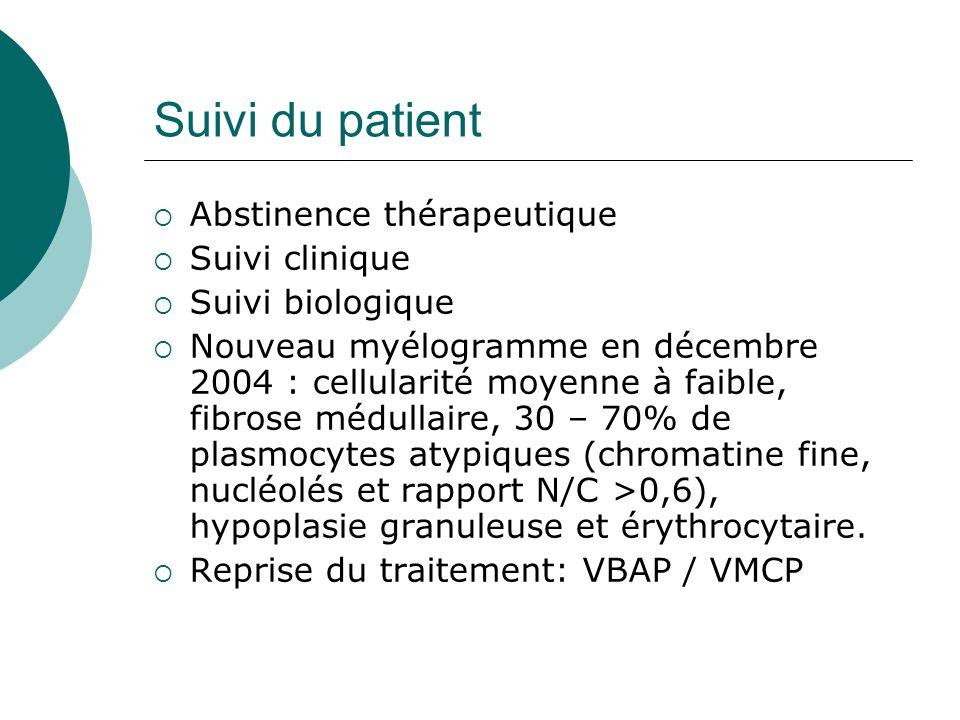 Suivi du patient Abstinence thérapeutique Suivi clinique Suivi biologique Nouveau myélogramme en décembre 2004 : cellularité moyenne à faible, fibrose