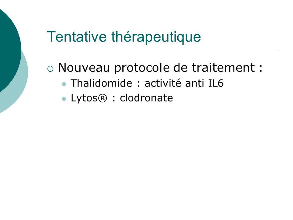 Tentative thérapeutique Nouveau protocole de traitement : Thalidomide : activité anti IL6 Lytos® : clodronate