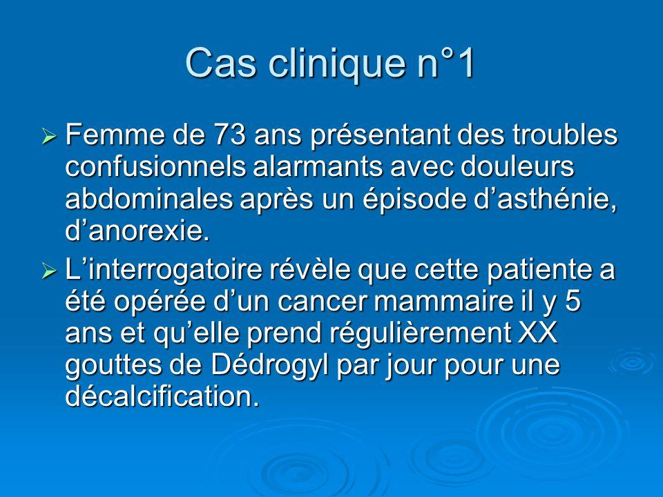 Cas clinique n°1 Femme de 73 ans présentant des troubles confusionnels alarmants avec douleurs abdominales après un épisode dasthénie, danorexie. Femm