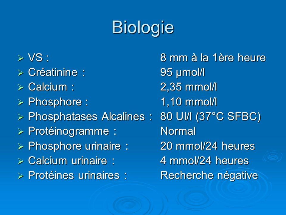 Biologie VS :8 mm à la 1ère heure VS :8 mm à la 1ère heure Créatinine :95 µmol/l Créatinine :95 µmol/l Calcium :2,35 mmol/l Calcium :2,35 mmol/l Phosp