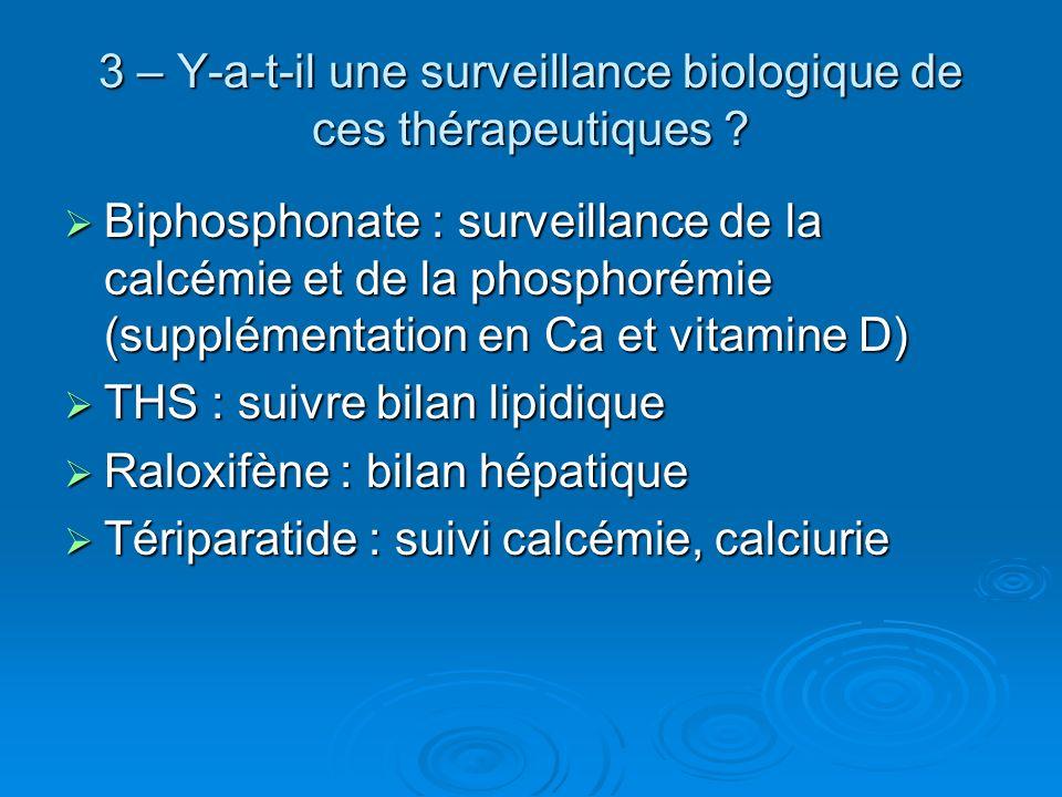 3 – Y-a-t-il une surveillance biologique de ces thérapeutiques ? Biphosphonate : surveillance de la calcémie et de la phosphorémie (supplémentation en