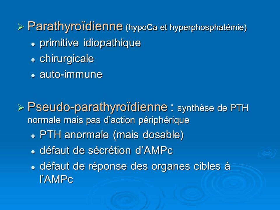 Parathyroïdienne (hypoCa et hyperphosphatémie) Parathyroïdienne (hypoCa et hyperphosphatémie) primitive idiopathique primitive idiopathique chirurgica