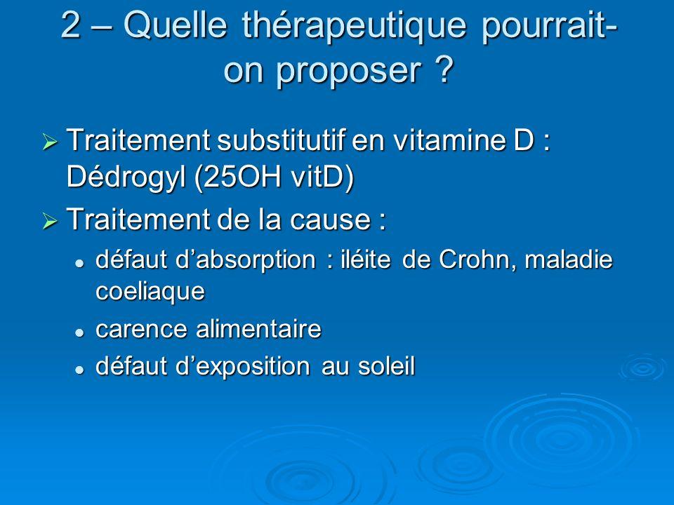 2 – Quelle thérapeutique pourrait- on proposer ? Traitement substitutif en vitamine D : Dédrogyl (25OH vitD) Traitement substitutif en vitamine D : Dé