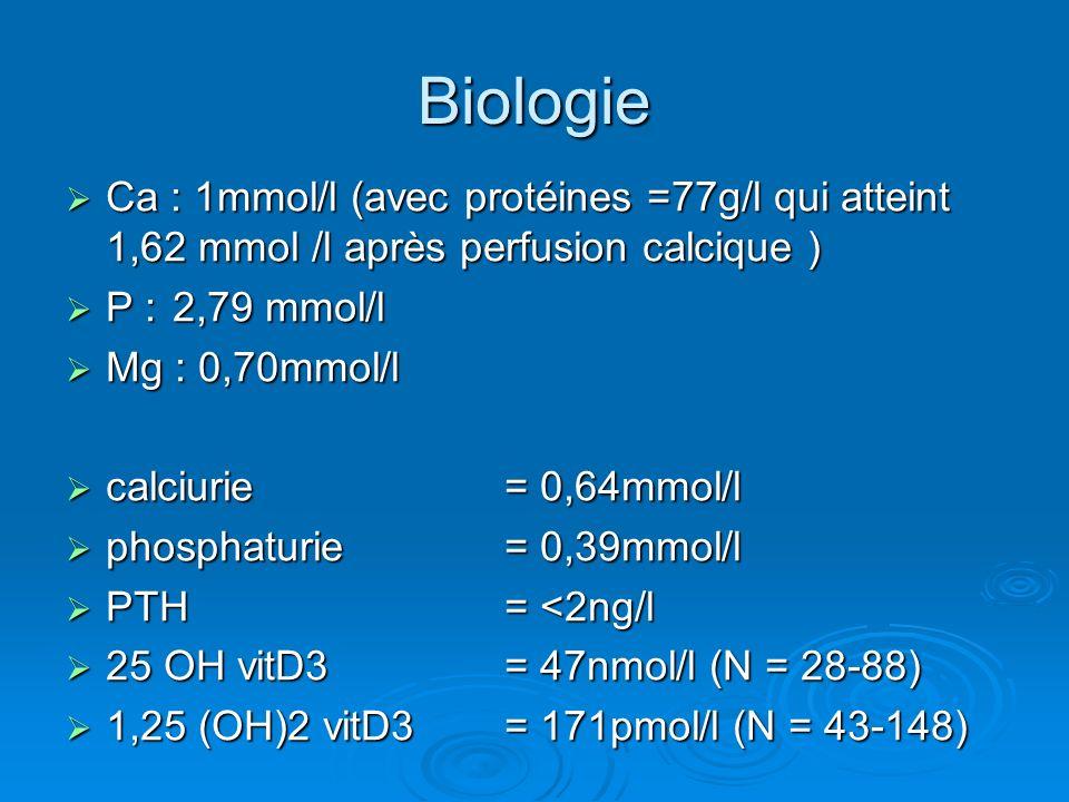 Biologie Ca : 1mmol/l (avec protéines =77g/l qui atteint 1,62 mmol /l après perfusion calcique ) Ca : 1mmol/l (avec protéines =77g/l qui atteint 1,62