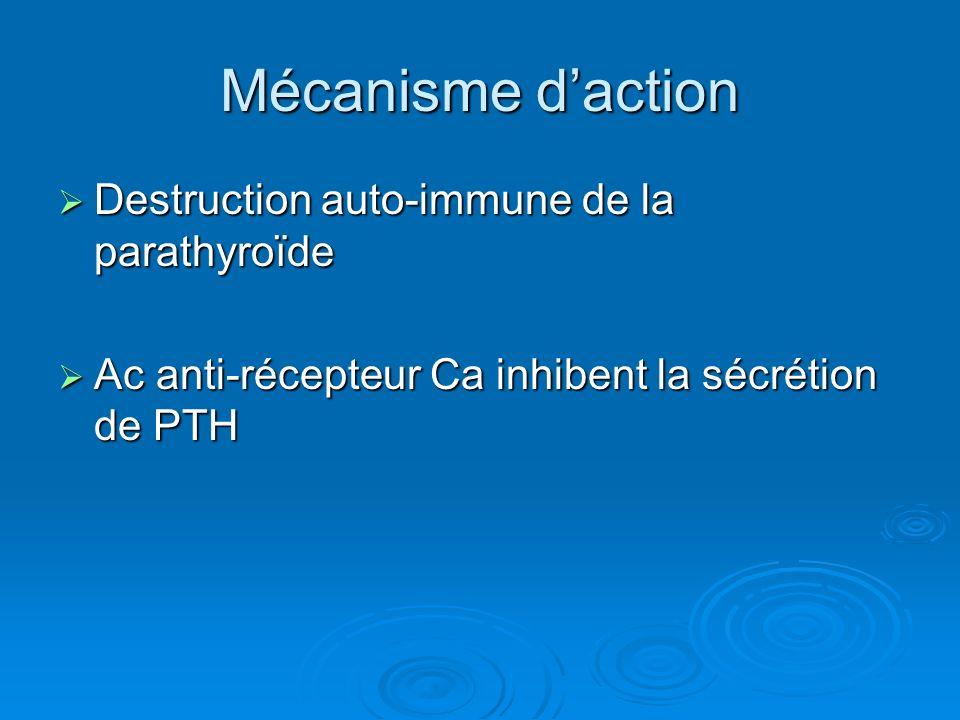 Mécanisme daction Destruction auto-immune de la parathyroïde Destruction auto-immune de la parathyroïde Ac anti-récepteur Ca inhibent la sécrétion de