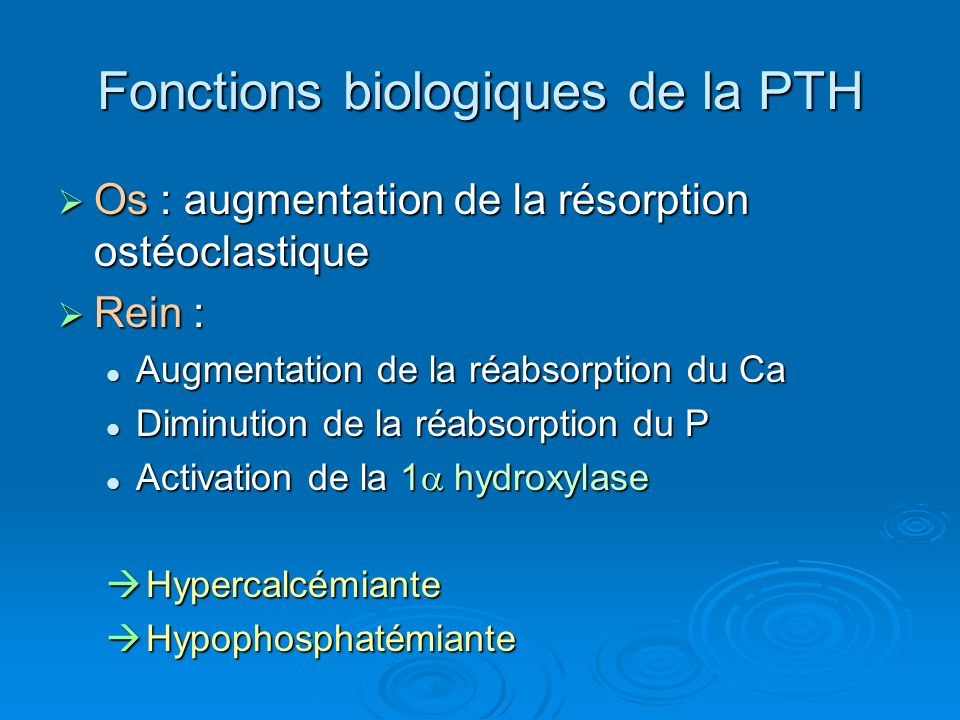 Calcitonine Synthétisée par les cellules parafolliculaires de la thyroïde (synthèse régulée par la calcémie) Synthétisée par les cellules parafolliculaires de la thyroïde (synthèse régulée par la calcémie) Os : diminution de la résorption ostéoclastique et du rejet de Ca par le système ostéocytique Os : diminution de la résorption ostéoclastique et du rejet de Ca par le système ostéocytique Rein : Rein : diminution de la réabsorption du Ca et du P diminution de la réabsorption du Ca et du P Inhibition de la 1 hydroxylase Inhibition de la 1 hydroxylase Hypocalcémiante Hypocalcémiante Hypophosphatémiante Hypophosphatémiante