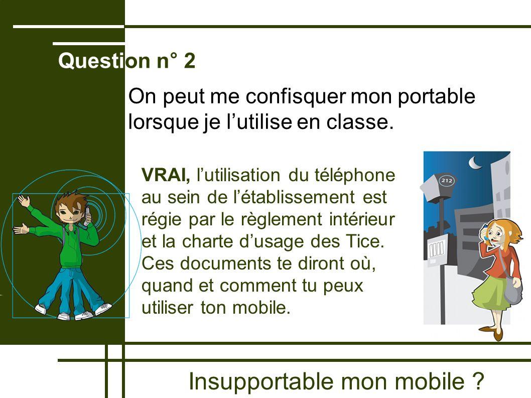 Insupportable mon mobile ? Question n° 2 VRAI, lutilisation du téléphone au sein de létablissement est régie par le règlement intérieur et la charte d