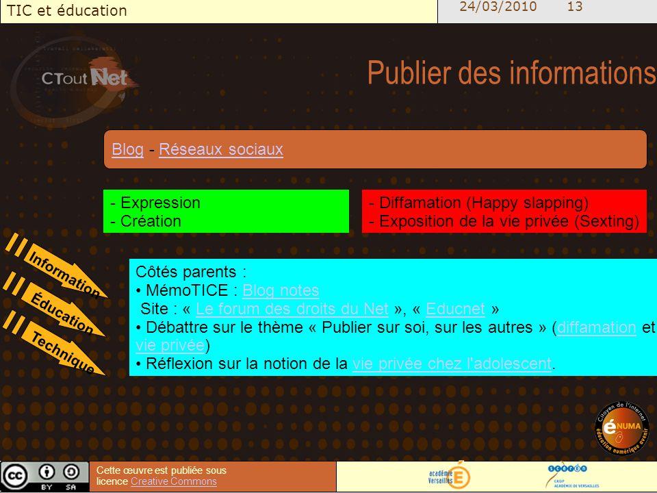 24/03/2010 13 TIC et éducation Cette œuvre est publiée sous licence Creative CommonsCreative Commons Publier des informations - Expression - Création - Diffamation (Happy slapping) - Exposition de la vie privée (Sexting) Côtés parents : MémoTICE : Blog notesBlog notes Site : « Le forum des droits du Net », « Educnet »Le forum des droits du NetEducnet Débattre sur le thème « Publier sur soi, sur les autres » (diffamation et vie privée)diffamation vie privée Réflexion sur la notion de la vie privée chez l adolescent.vie privée chez l adolescent BlogBlog - Réseaux sociauxRéseaux sociaux Information Éducation Technique