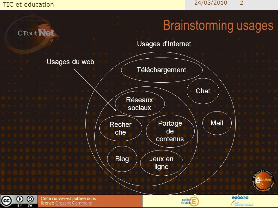 24/03/2010 2 TIC et éducation Cette œuvre est publiée sous licence Creative CommonsCreative Commons Brainstorming usages Téléchargement Chat Mail Réseaux sociaux Blog Recher che Partage de contenus Jeux en ligne Usages d Internet Usages du web