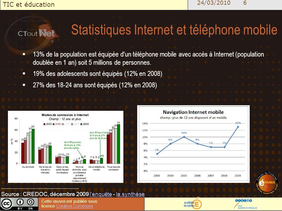 24/03/2010 6 TIC et éducation Cette œuvre est publiée sous licence Creative CommonsCreative Commons Statistiques Internet et téléphone mobile 13% de la population est équipée d un téléphone mobile avec accès à Internet (population doublée en 1 an) soit 5 millions de personnes.