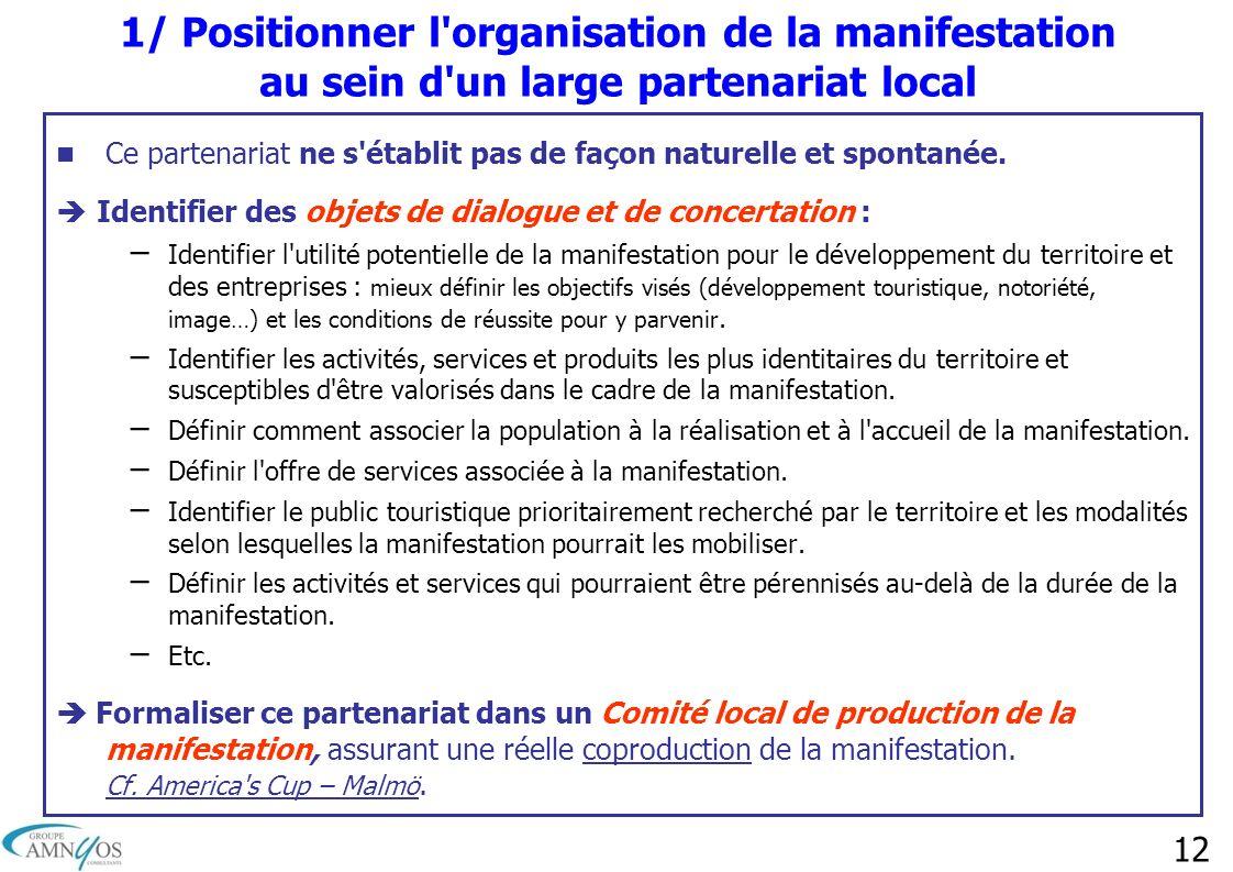 12 1/ Positionner l'organisation de la manifestation au sein d'un large partenariat local Ce partenariat ne s'établit pas de façon naturelle et sponta