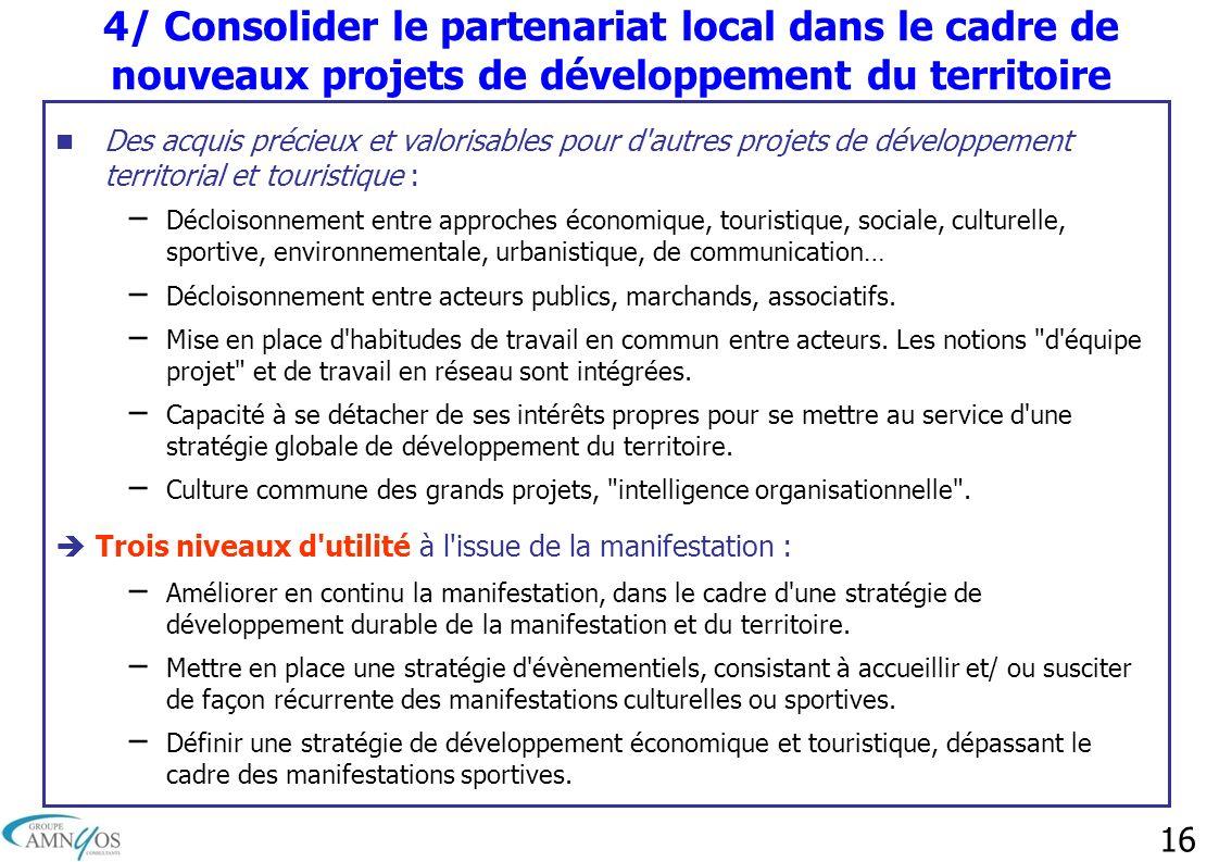 16 4/ Consolider le partenariat local dans le cadre de nouveaux projets de développement du territoire Des acquis précieux et valorisables pour d'autr