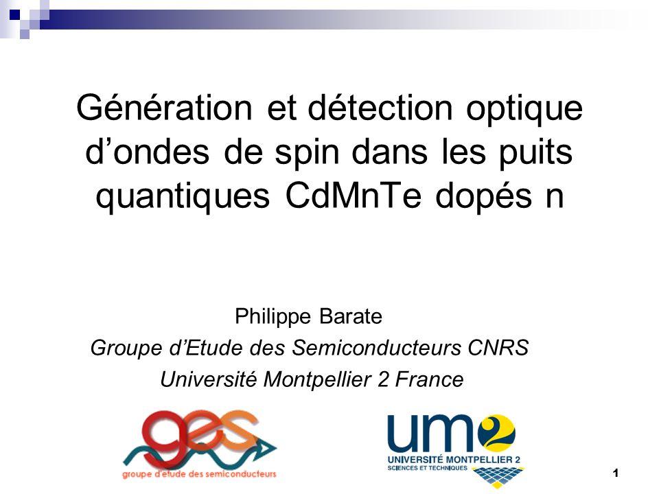 1 Génération et détection optique dondes de spin dans les puits quantiques CdMnTe dopés n Philippe Barate Groupe dEtude des Semiconducteurs CNRS Université Montpellier 2 France