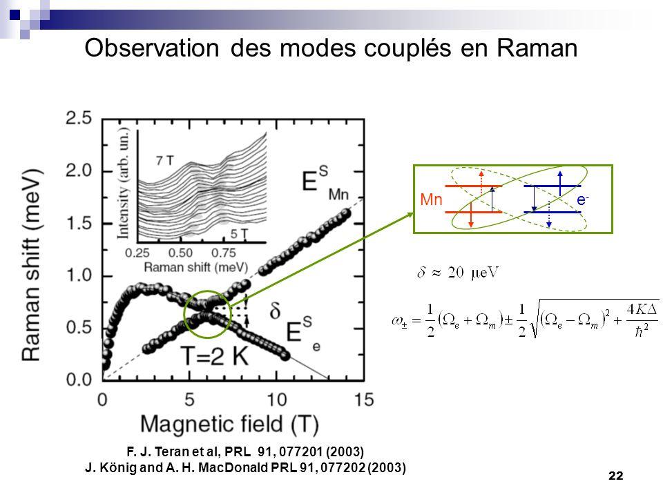 22 Observation des modes couplés en Raman F.J. Teran et al, PRL 91, 077201 (2003) J.