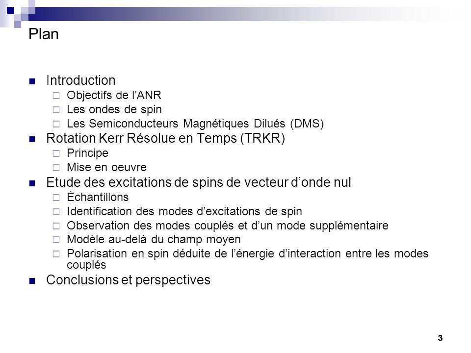 3 Plan Introduction Objectifs de lANR Les ondes de spin Les Semiconducteurs Magnétiques Dilués (DMS) Rotation Kerr Résolue en Temps (TRKR) Principe Mise en oeuvre Etude des excitations de spins de vecteur donde nul Échantillons Identification des modes dexcitations de spin Observation des modes couplés et dun mode supplémentaire Modèle au-delà du champ moyen Polarisation en spin déduite de lénergie dinteraction entre les modes couplés Conclusions et perspectives