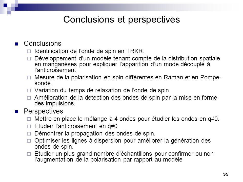 35 Conclusions et perspectives Conclusions Identification de londe de spin en TRKR.
