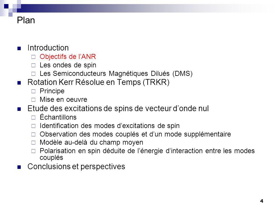 4 Plan Introduction Objectifs de lANR Les ondes de spin Les Semiconducteurs Magnétiques Dilués (DMS) Rotation Kerr Résolue en Temps (TRKR) Principe Mise en oeuvre Etude des excitations de spins de vecteur donde nul Échantillons Identification des modes dexcitations de spin Observation des modes couplés et dun mode supplémentaire Modèle au-delà du champ moyen Polarisation en spin déduite de lénergie dinteraction entre les modes couplés Conclusions et perspectives