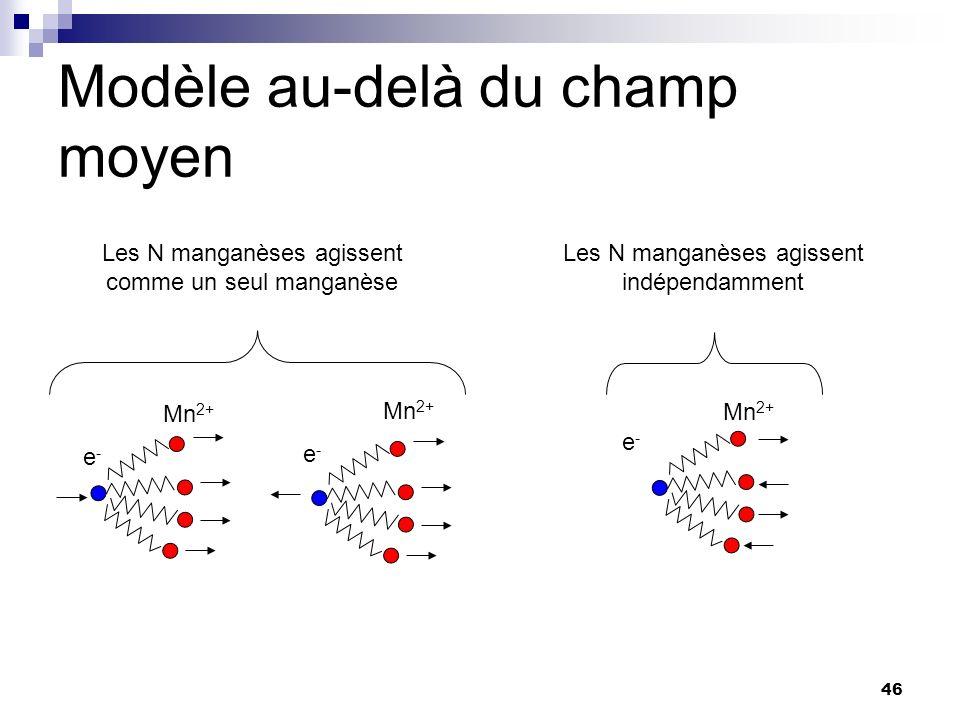 46 e-e- Mn 2+ e-e- e-e- Modèle au-delà du champ moyen Les N manganèses agissent comme un seul manganèse Les N manganèses agissent indépendamment