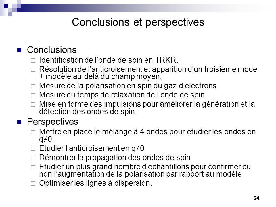 54 Conclusions et perspectives Conclusions Identification de londe de spin en TRKR.