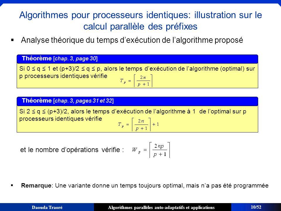 Algorithmes parallèles auto-adaptatifs et applicationsDaouda Traoré 10/52 Algorithmes pour processeurs identiques: illustration sur le calcul parallèl